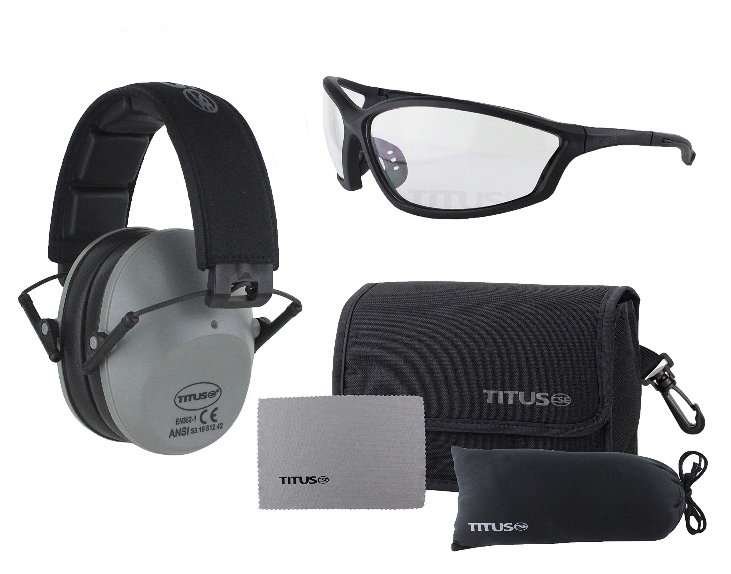 Titus 2 Series - 34 NRR Slim-Line Hearing Protection & G26 Competition Z87.1 Safety Glasses Combos (Grey, Clear) by Titus