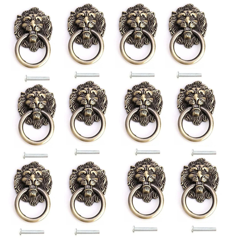 ZXHAO Lion Head Dresser Drawer Cabinet Door Ring Lion Head Pull Handle Knob 12pcs (Bronze)