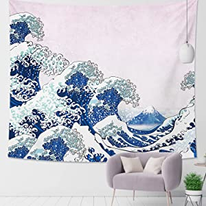 DESIHOM Japanese Tapestry Great Wave Tapestry Kanagawa Pink and Blue Tapestry Cute Ocean Tapestry Wall Tapestry for Bedroom Living Room Dorm Decor 59x51 Inch