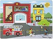 Melissa & Doug Around the Fire Station Sound Puzzle - Wooden Peg Puzzle (8 pcs)