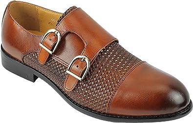 Inteligente de la Vendimia de los Hombres de Brown Negro de Cuero Real Casual de la Boda Formal del Vestido de la Correa de Doble Monk Zapatos