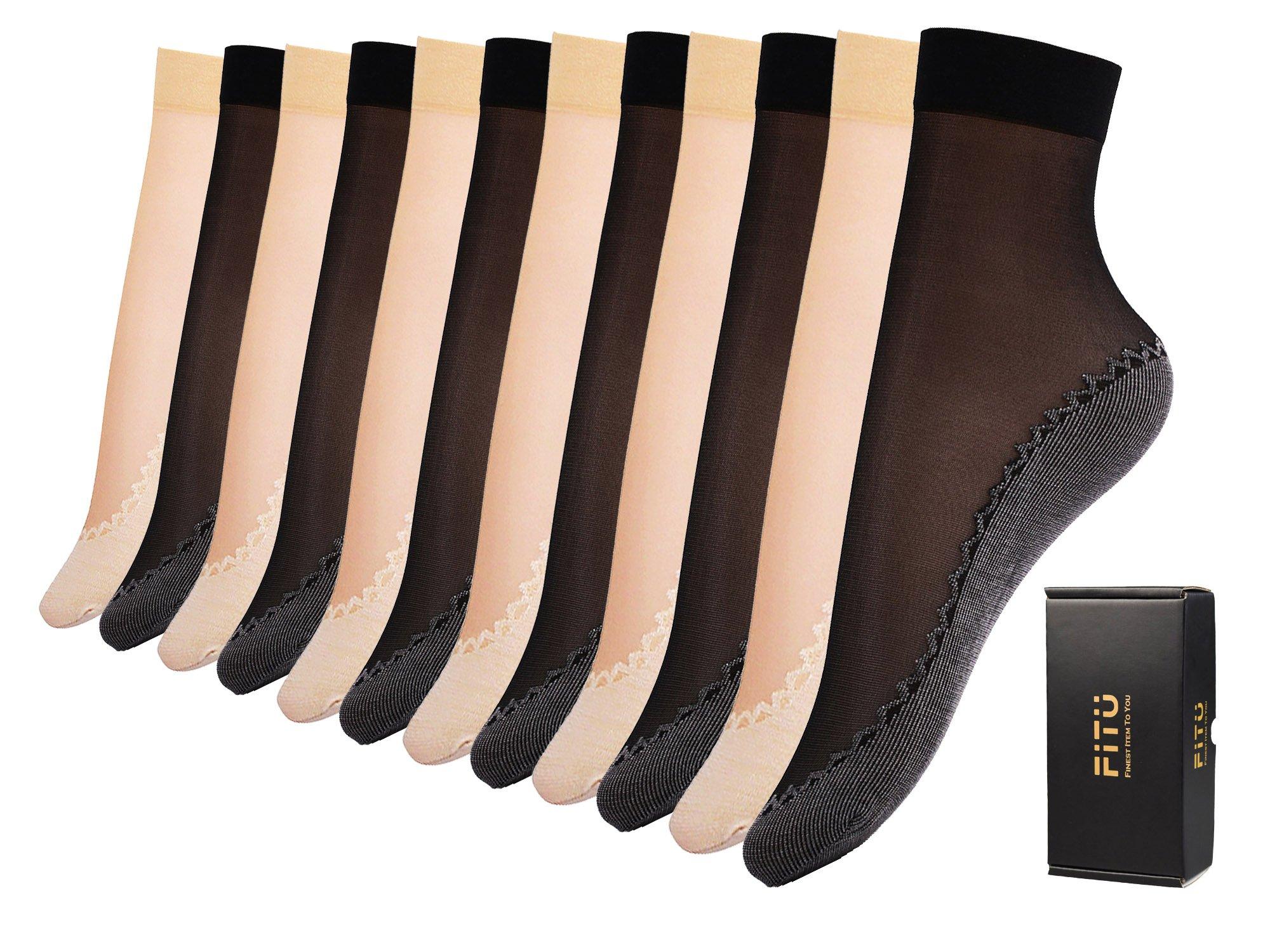 Fitu Women's 12 Pairs Silky Cotton Sole Sheer Ankle High Nylon Tights Hosiery Socks (Cotton Sole 6 Black 6 Beige) …