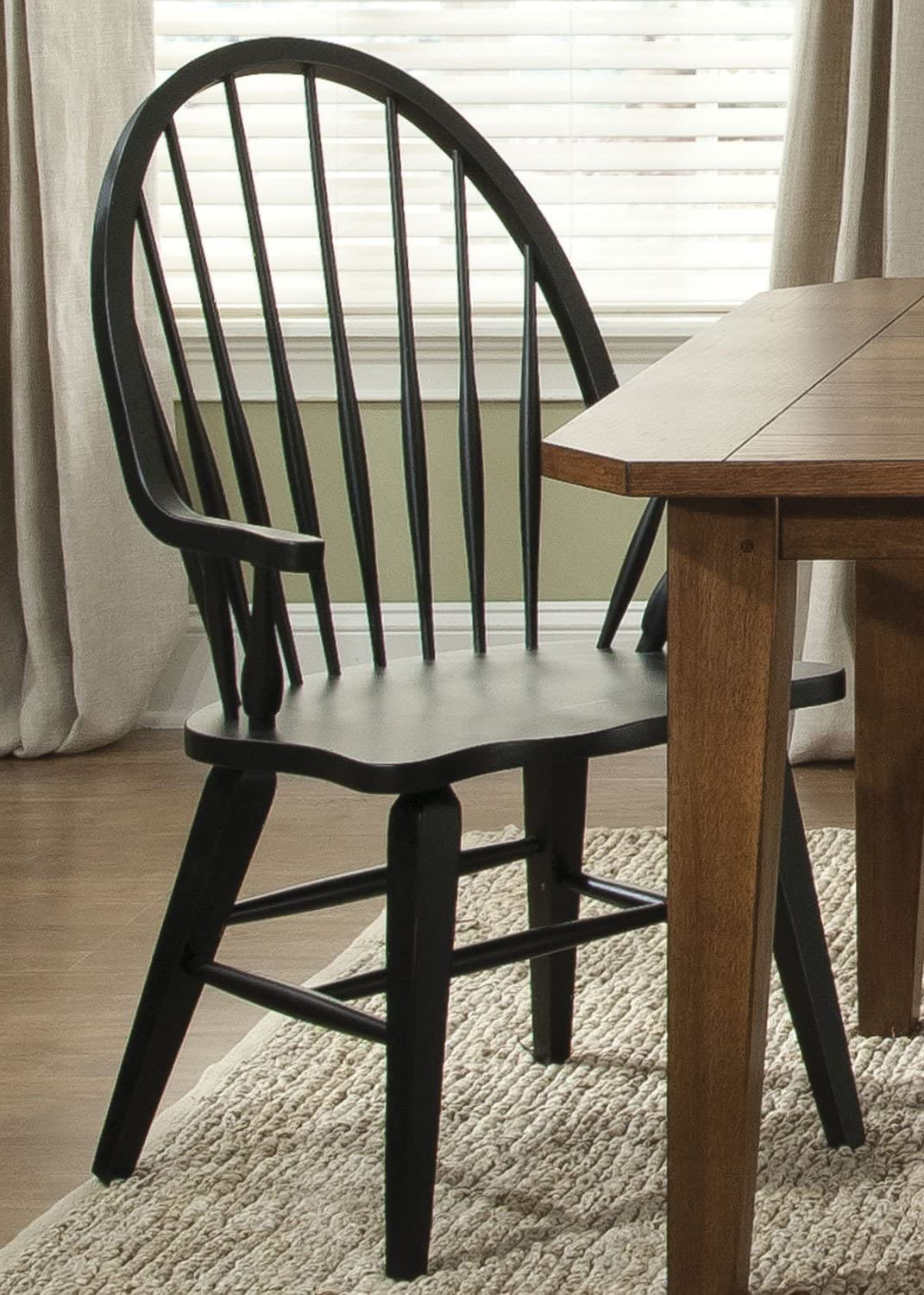 Liberty Furniture Hearthstone Windsor Back Dining Arm Chair in Black