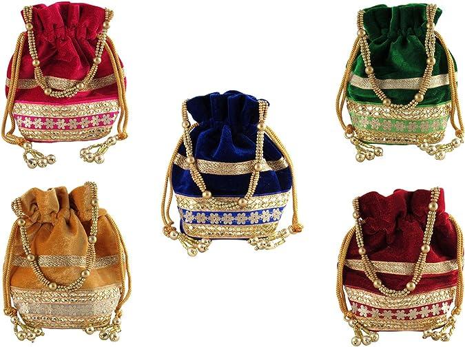 Amazon.com: goldgiftideas indio Potli bolsas para boda ...