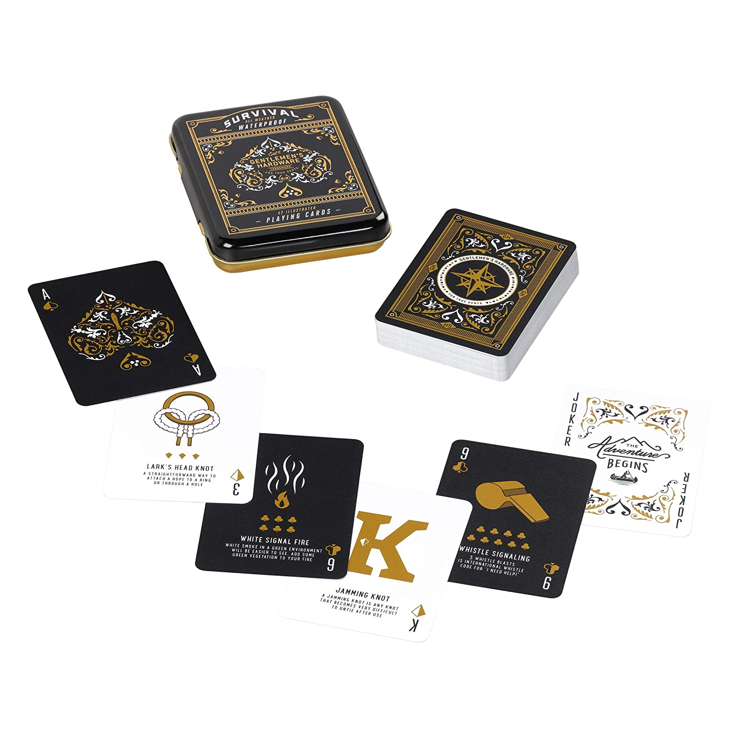 Gentlemen's Hardware Campfire Survival All Weather Waterproof Travel Playing Cards Set with Durable Metal Tin Wild & Wolf - L&G AGEN111