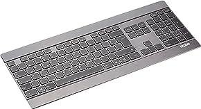 Rapoo E9270P ultraschlanke kabellose Aluminium Tastatur (5 GHz Wireless, 4 mm dünn, Full-Size, Multimedia Touch, Nano-USB, QWERTZ deutsches Layout) schwarz