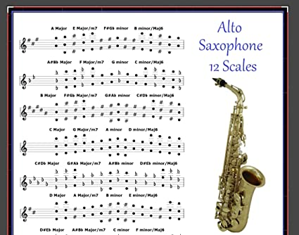 Amazoncom Alto Saxophone Poster 12 Scales For Sax Musical