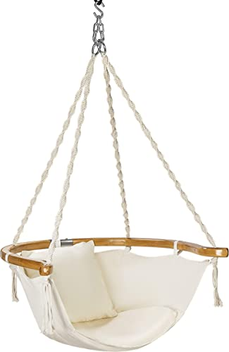 VIVOHOME Hanging Hammock Chair with Armrest and Cushion, 440 lbs Capacity, Perfect for Indoor Outdoor, Patio, Deck, Yard, Garden