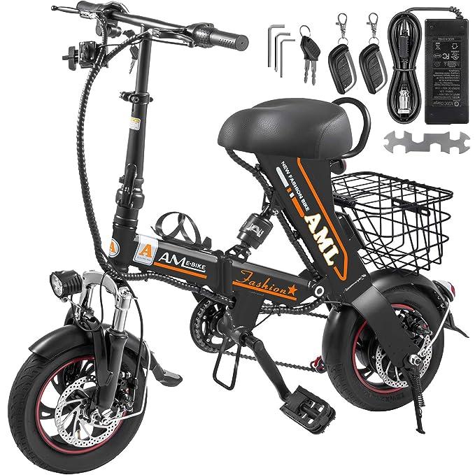 Amazon.com: Mophorn Foldable Electric Bike with Basket 36V ...