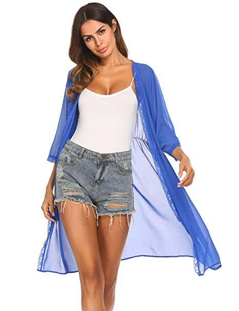 04362d83ccd bubblebelle Women's Floral Lace Sheer Chiffon Loose Long Cardigan Capes  Beach Cover up