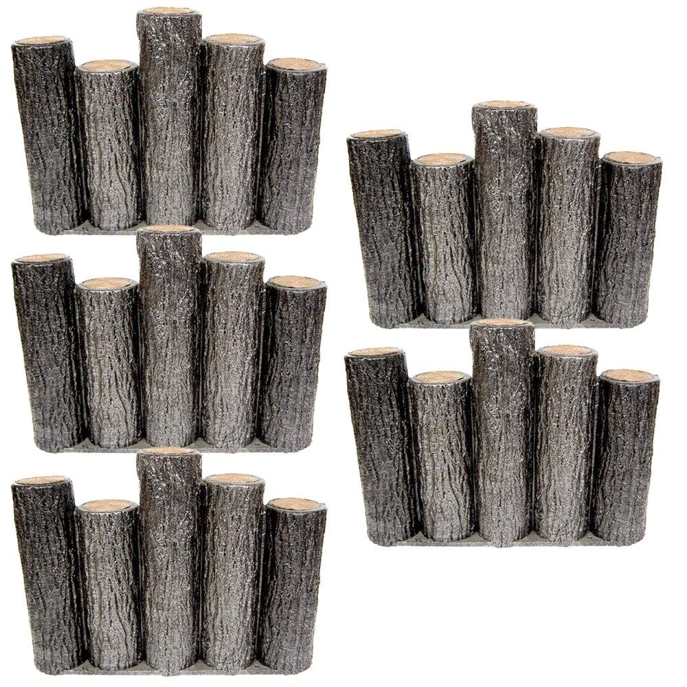 サンポリ 樹脂製擬木はなえ80φ 5連段違い杭タイプ H300 (15本セット) B00V8J5ISQ 15本セット  15本セット