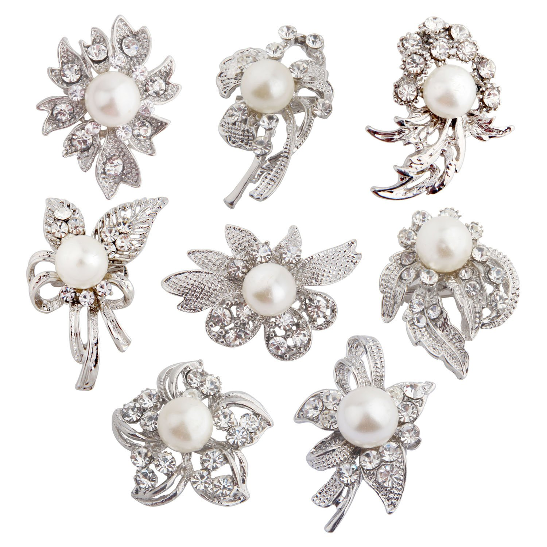 8 pcs Rhinestone Brooch Lot Wedding Invitation Brooch Bouquet (Silver)