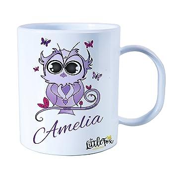 Personalizada de plástico irrompible Kids Cup, taza para bebé, diseño de lechuza para niñas: Amazon.es: Hogar