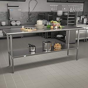 Flash Furniture Stainless Steel 18 Gauge Work Table with Undershelf - NSF Certified - 72