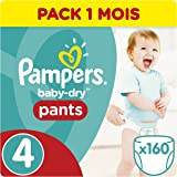 Pampers - Baby Dry Pants - Couches Taille 4 (8-16 kg) - Pack 1 mois (x160 couches)