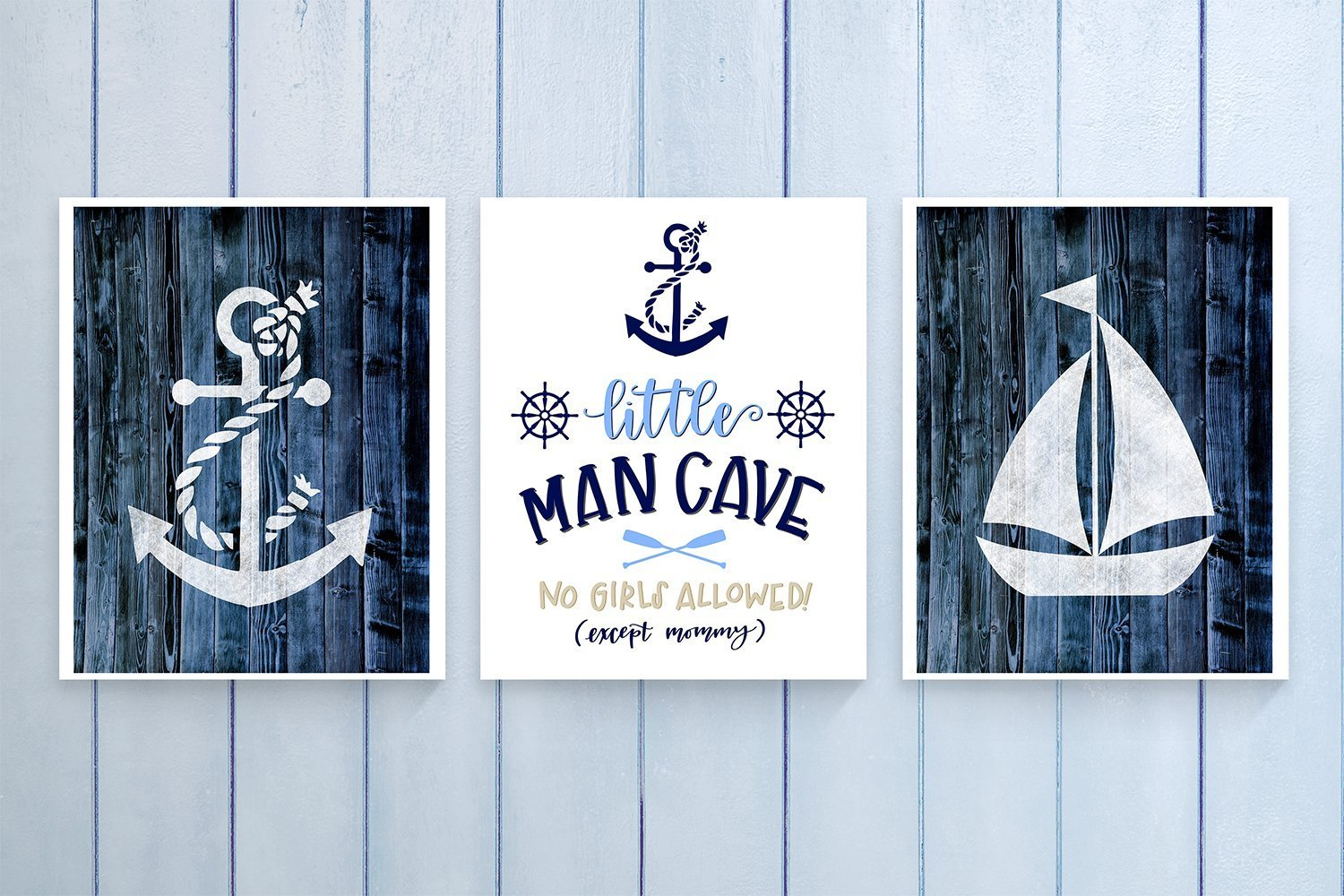 Three Piece Nautical Nursery Cardstock Prints 8.5 x11 ''Little Man Cave'' by June & Lucy