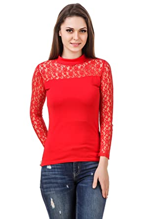 fd8daf9c2a4015 LE BOURGEOIS Women's Cotton Body with Net Yoke Full Sleeve High Neck Top ( Red,