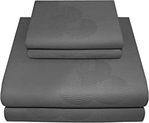 Threadmill Home Linen Queen Sheets - Pure Long Staple Cotton, Patriot Jacquard Weave, 4 Piece 300 Thread Count Bedding Set, Silky Smooth Dark Grey Sheets with Elasticized Deep Pocket