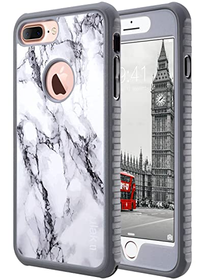 super popular 81a86 3a837 ULAK iPhone 7 Plus Case, 7 Plus Marble Slim Shockproof Flexible TPU Bumper  Case Durable Anti-Slip Lightweight Front and Back Hard Protective Safe Grip  ...