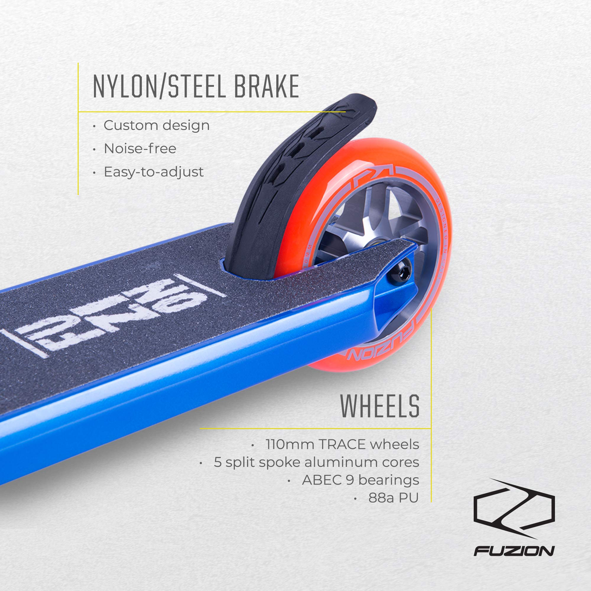 Fuzion Z250 Pro Scooters - Trick Scooter - Intermediate and Beginner Stunt Scooters for Kids 8 Years and Up, Teens and Adults – Durable Freestyle Kick Scooter for Boys and Girls (2019 Racing Blue) by Fuzion (Image #5)