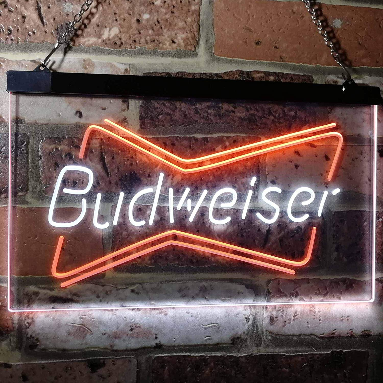 zusme Budweiser Double Beer Bar Novelty LED Neon Sign White ...