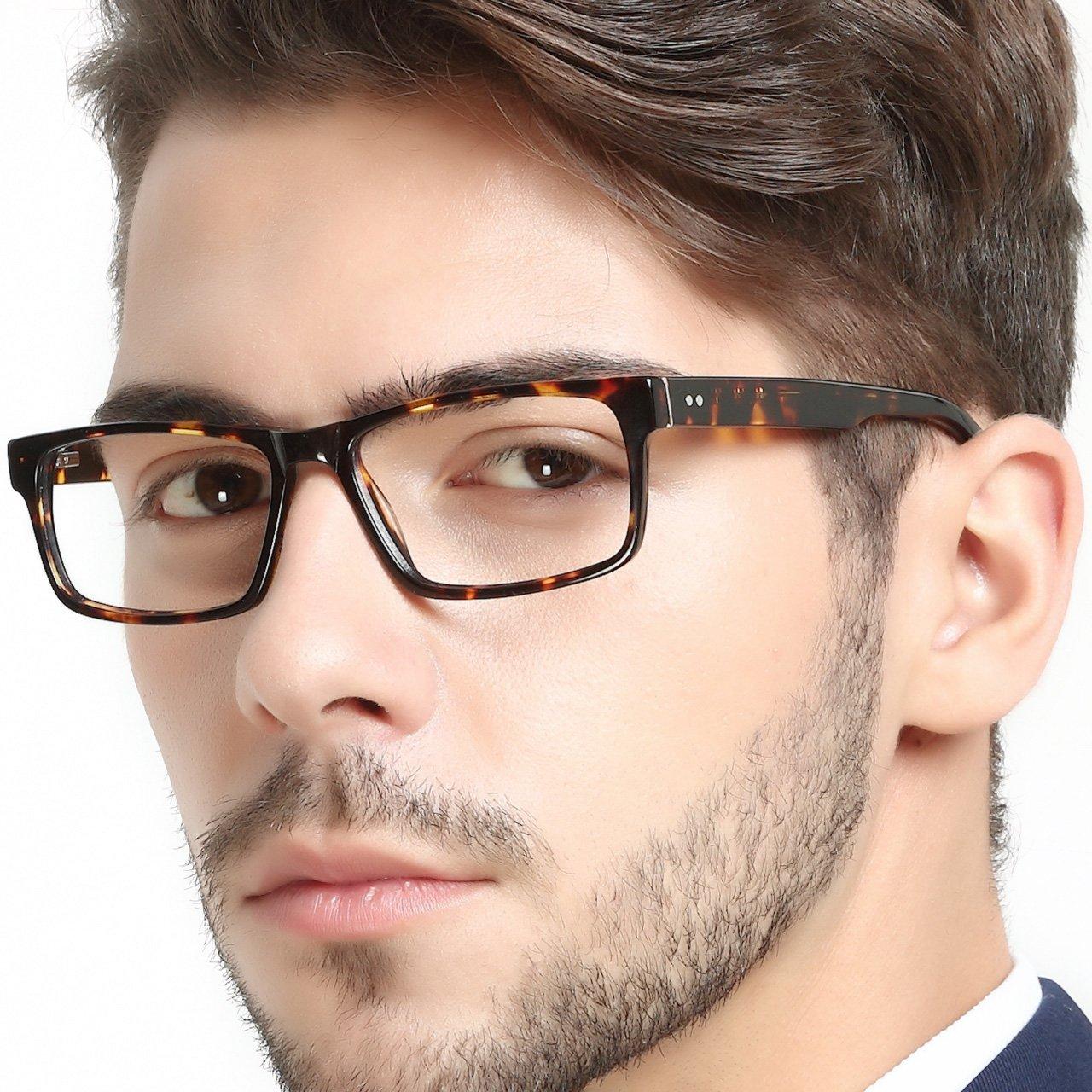 OCCI CHIARI Fashionable Flexible Rectangle Acetate Metal Decoration Eyeglasses Frame With Spring Hinge For Men Blocking UV Headache