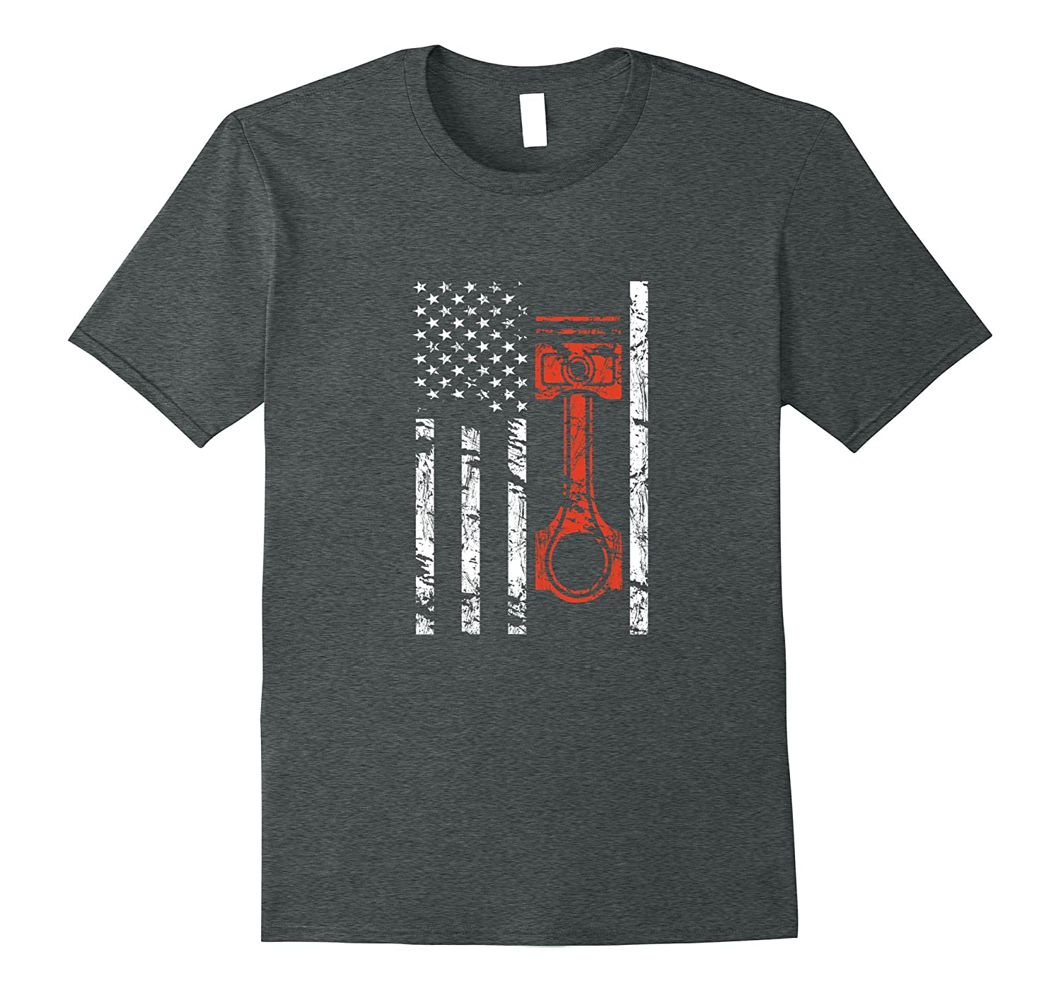 Vintage American Flag and Piston Muscle Car T-Shirt-TD