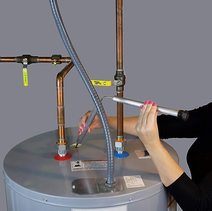 Kit de varilla de aluminio de zinc flexible para calentadores de agua, incluye: 1 - 1/16 pulgadas (27 mm) Hex Socket Herramienta de teflón cinta de 44 ...
