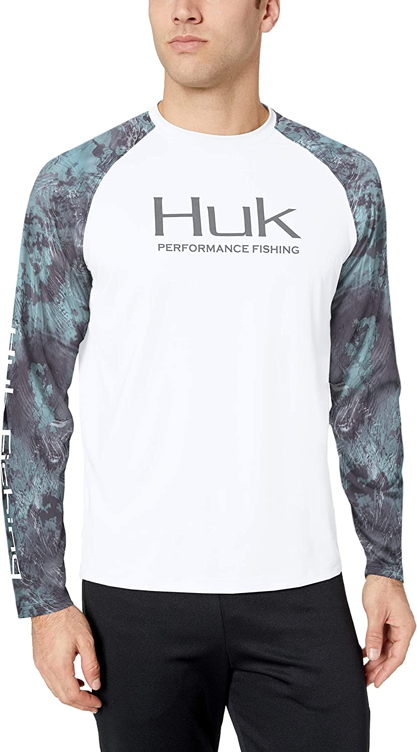Huk Men's Double Header Vented Long Sleeve Shirt | Premium Fishing Shirt with +30 UPF Sun Protection, White/SubPhantis Glacier, Medium
