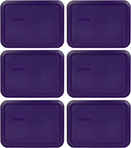 Pyrex 7210-PC 3 Cup Purple Rectangle Plastic Food Storage Lid - 6 Pack