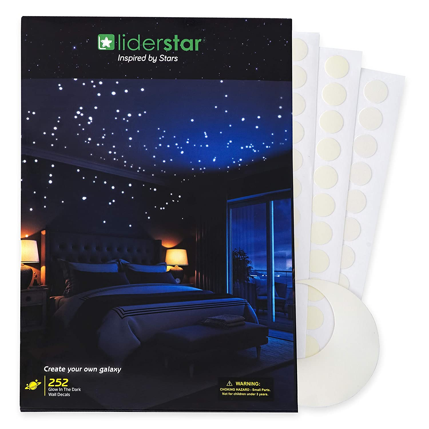 Glow In The Dark Stars Wall Stickers,252 Adhesive Dots and Moon for Starry Sky, Decor For Kids Bedroom or Birthday Gift,Beautiful Wall Decals for any Room by LIDERSTAR,Bright and Realistic.