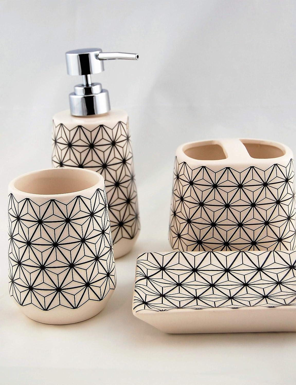 Homevibes Dispenser di Sapone 4 Pezzi Composto da portasapone in Ceramica Set da Bagno Completo Set di Accessori da Bagno Porta spazzolino e Bicchiere