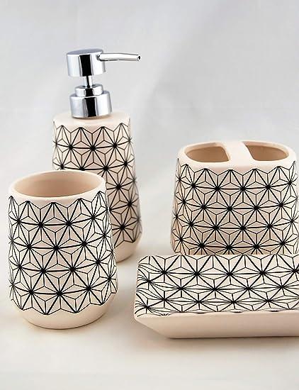 Homevibes Accesorios De Baño De Ceramica Completo, Set De Baño, Juego de Baño Completo