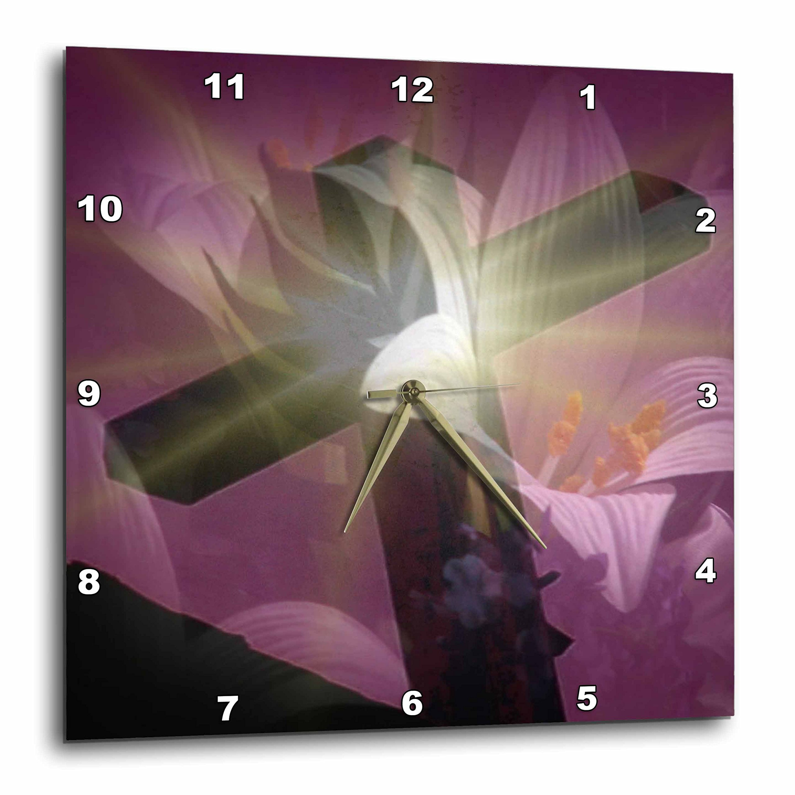 3dRose dpp_42952_1 Christian Cross and Lily-Wall Clock, 10 by 10-Inch