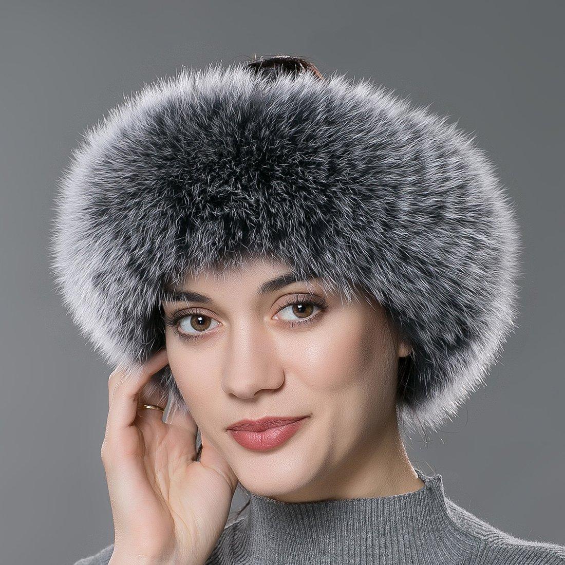 URSFUR Winter Fur Headband Women Warm Real Fox Fur Knitted Headband Earmuffs Gray Frost by URSFUR (Image #2)
