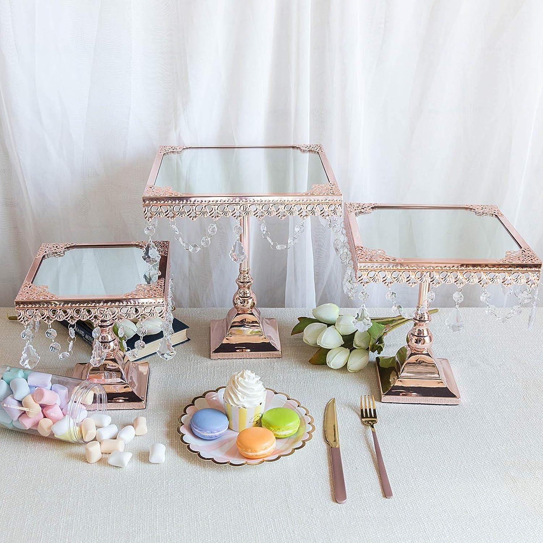 Tableclothsfactory ローズゴールドスクエアミラートップカップケーキライザー センターピーススタンド ウェディング 誕生日パーティー デザートライズ ケーキスタンド 3個セット   B07NG2Q87T