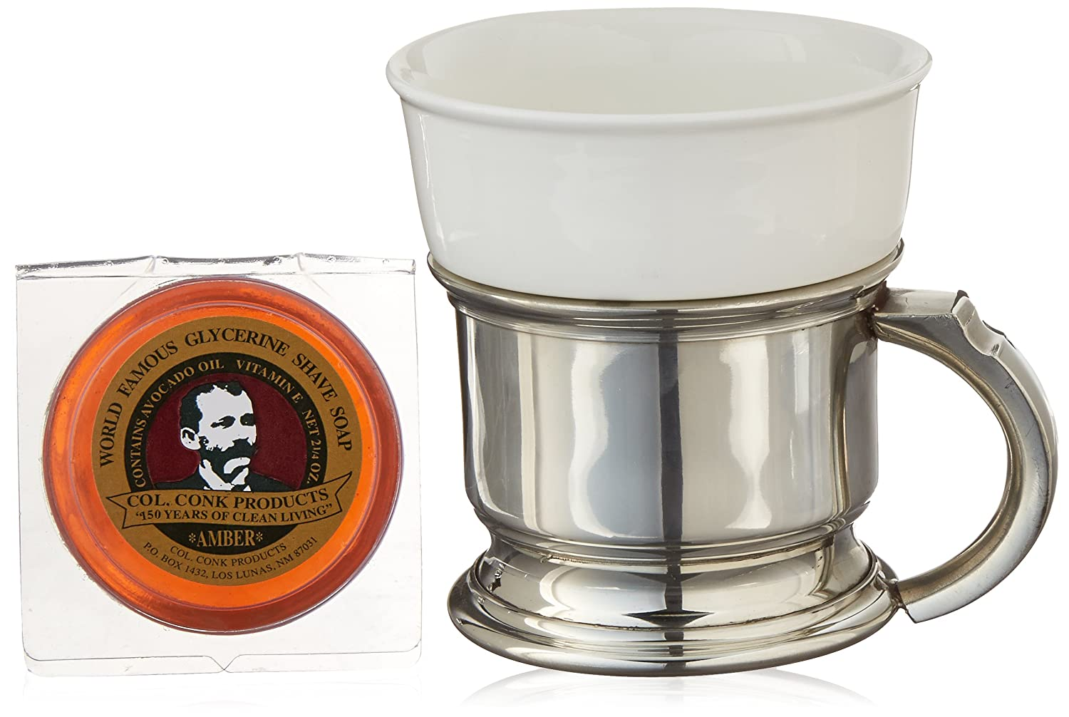 Col. Conk Products No.127 Shaving Mug with Pewter Caddy