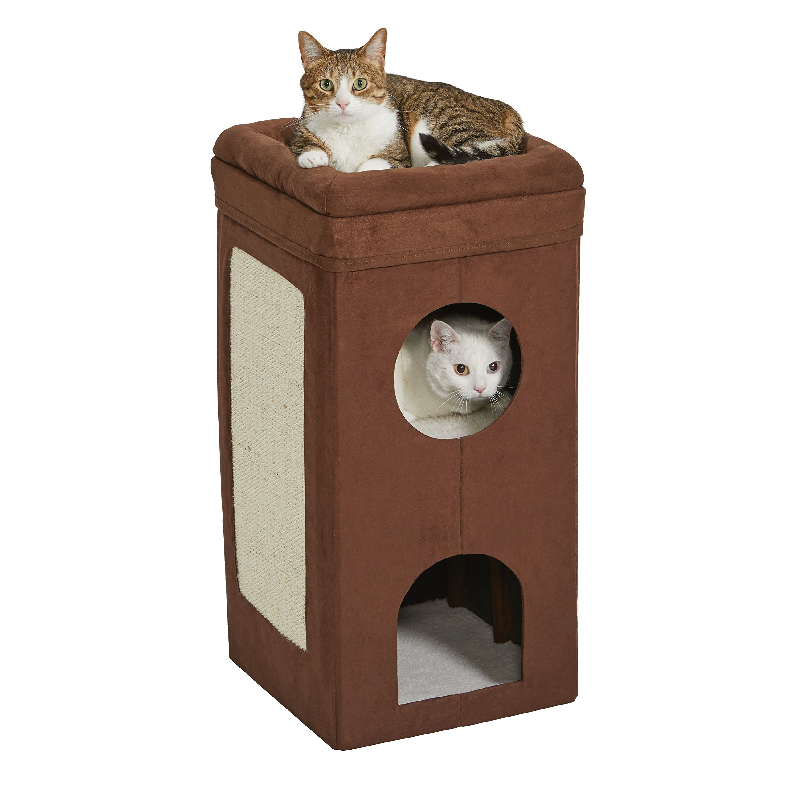 MidWest Homes for Pets Cat Condo | Tri-Level Design in Brown Faux Suede & Synthetic Sheepskin | 14.6L x 14.72W x 30.39H Inches by MidWest Homes for Pets