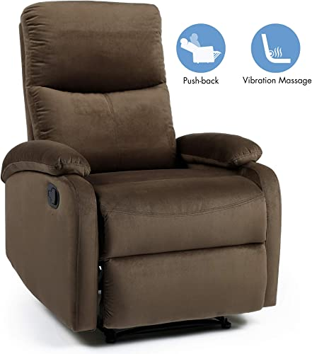 Recliner Chair,Recliners for Small Spaces,Fabric Recliner Sofa Chair Theater Seating Living Room Reclining Chair,Sillon Reclinable para Adulto,2 Points Massage,Brown