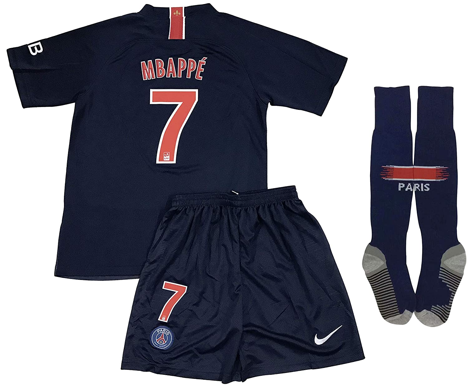 256888f4 Amazon.com: New #7 Mbappe PSG 2018/2019 Home Jersey Shorts & Socks for Kids/ Youths: Clothing