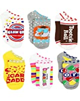 Topps Charms Candy Tootsie Roll Womens 6 pack Socks (Teen/Adult)