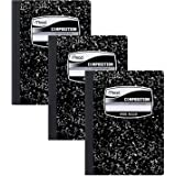 Mead Composition Notebooks, Comp Books, Wide Ruled Paper, 100 Sheets, 9-3/4 x 7-1/2 inches, Classic Black Marble, 3 Pack (383