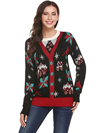 Billti Women S Ugly Christmas Sweater Cute Printed Shiny Sequins