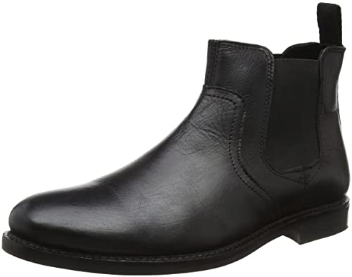 Red Tape Newton, Botas Chelsea para Hombre, Negro (black leather), 46