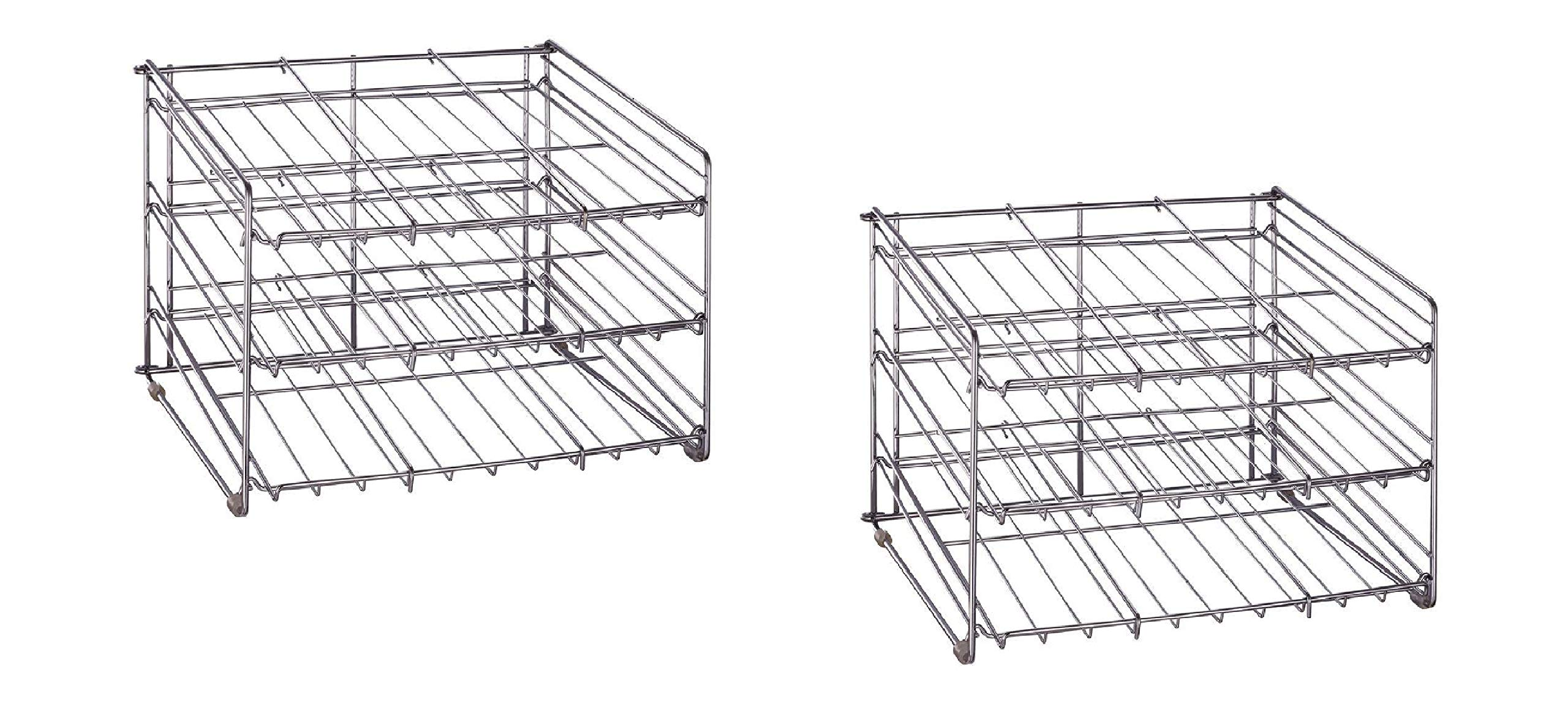 2 Pack - Chrome Wire Can Storage Rack - (15.87 in. x 18 in. x 12.75 in.) Slanted 3 Tier Design, Perfect Storage For Any Kitchen