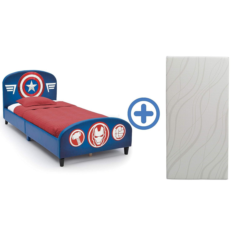 Delta Children Upholstered Twin Bed & 6-Inch Memory Foam Twin Mattress, Marvel Avengers