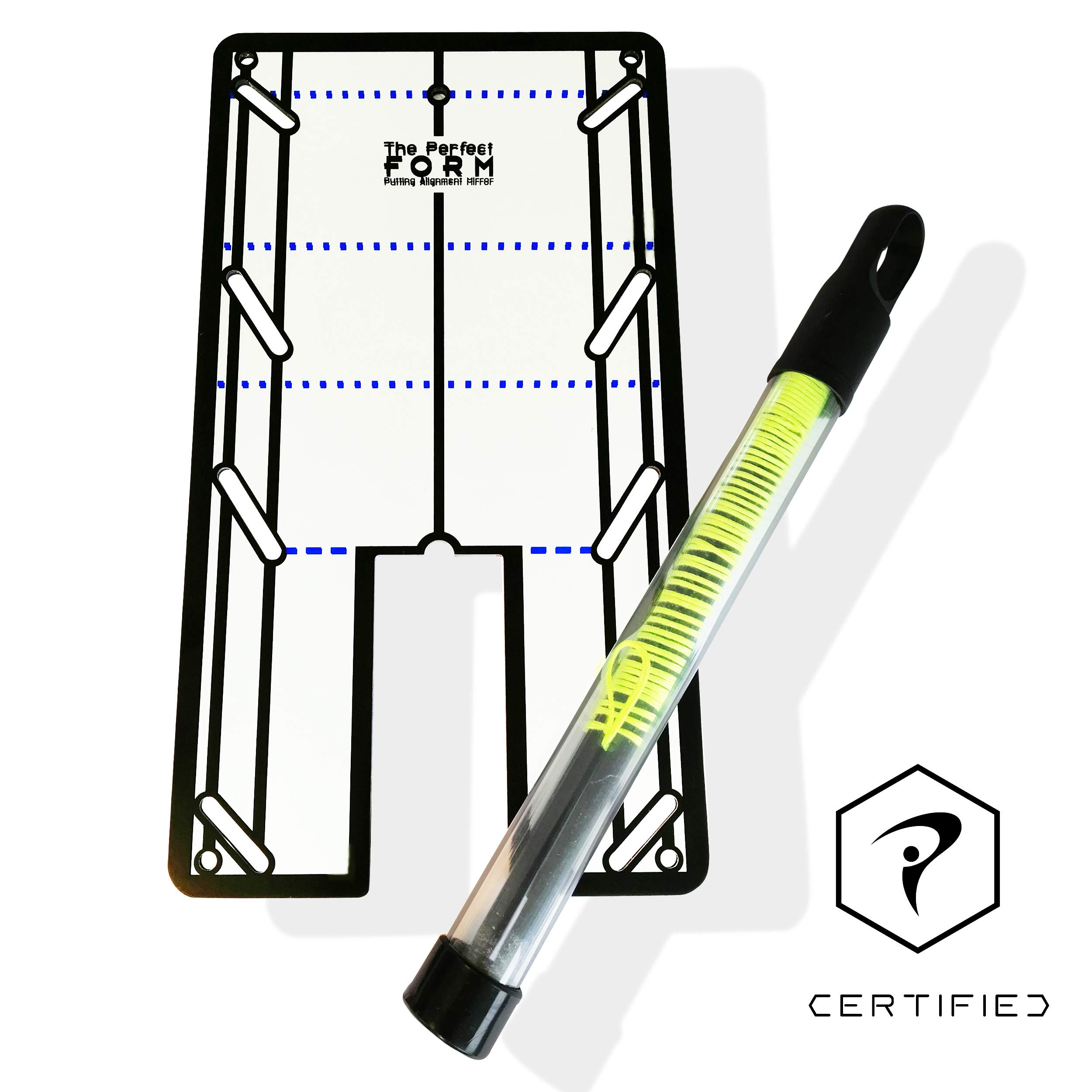 Perfect Form Golf Putting Training Aids - Putting Mirror Putting String Combo. Portable 2-in-1 Putting Aids for Golf. Alignment, Eyeline, Putter Path, Impact Trainer. Golf Training Aids with Carry Bag by Form