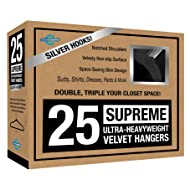 Closet Complete Supreme Quality, Heavyweight, 85-Gram, Virtually-Unbreakable Velvet, Ultra-Thin, Space Saving, No-Slip Suit Hangers, 360° Spinning,Chrome, 25, Black