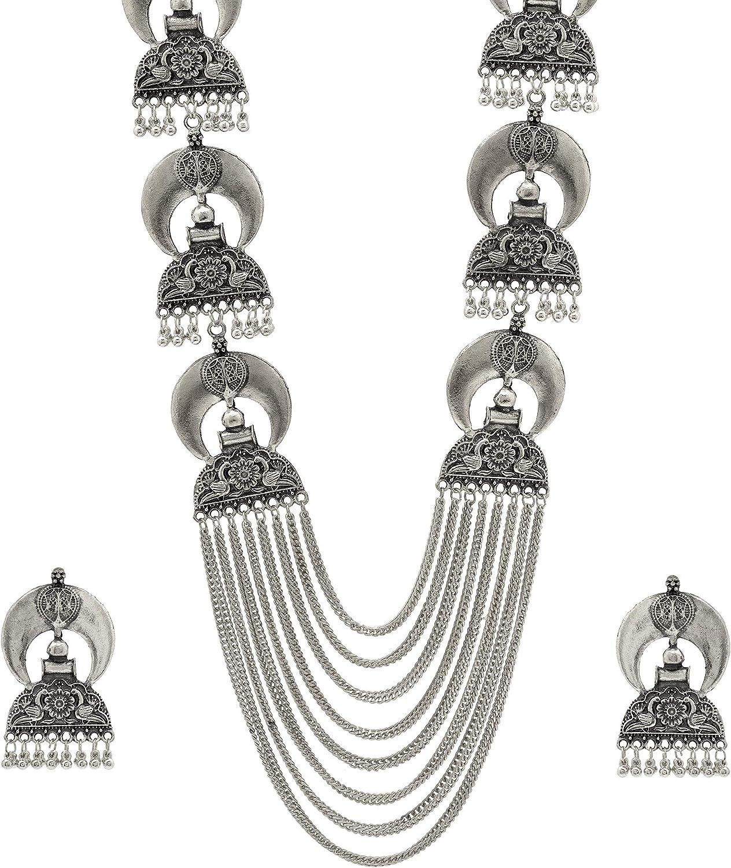 Ethnic Indian boho style alloy drop earrings silver tone peacock design