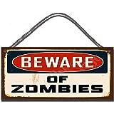 Plaque murale humoristique en bois avec message en anglais Beware of Zombies